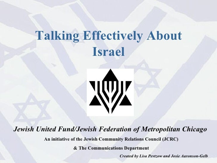 Jewish United Fund/Jewish Federation of Metropolitan Chicago  An initiative of the Jewish Community Relations Council (JCR...