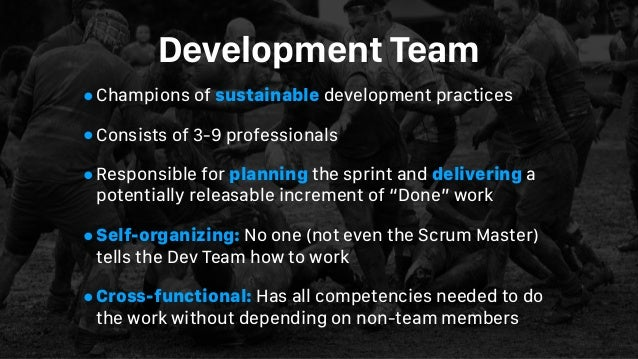 Development Team •Champions of sustainable development practices •Consists of 3-9 professionals •Responsible for planning ...