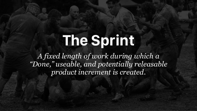 """The Sprint A fixed length of work during which a """"Done,"""" useable, and potentially releasable product increment is created."""