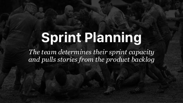 Sprint Planning The team determines their sprint capacity and pulls stories from the product backlog