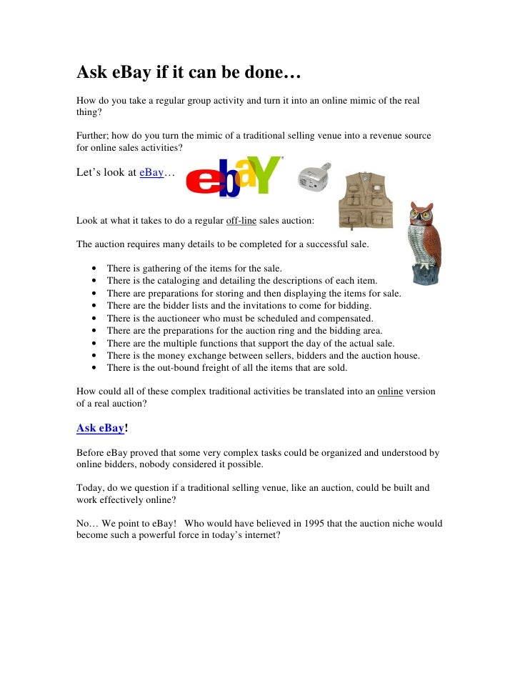Ask eBay if it can be done… How do you take a regular group activity and turn it into an online mimic of the real thing?  ...