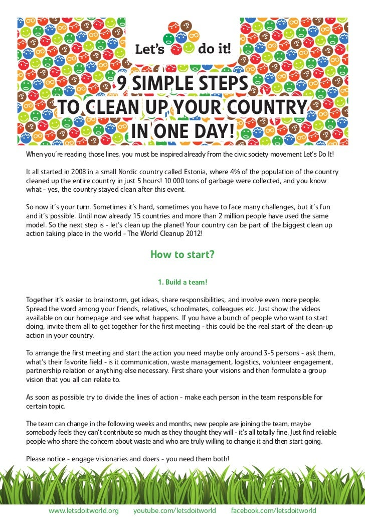 9 SIMPLE STEPS           TO CLEAN UP YOUR COUNTRY                   IN ONE DAY!When you're reading those lines, you must b...