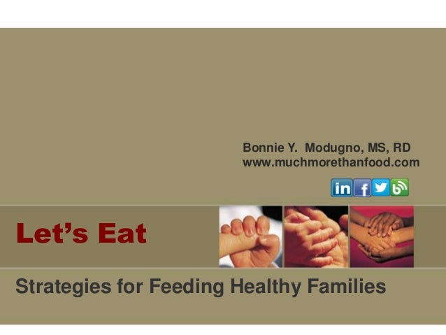 Bonnie Y. Modugno, MS, RD www.muchmorethanfood.com  Let's Eat Strategies for Feeding Healthy Families