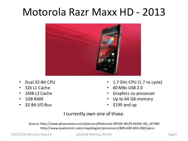 Motorola Razr Maxx HD - 2013  • • • • •  Dual 32-Bit CPU 32k L1 Cache 1MB L2 Cache 1GB RAM 32-Bit I/O Bus  • • • • •  1.7 ...