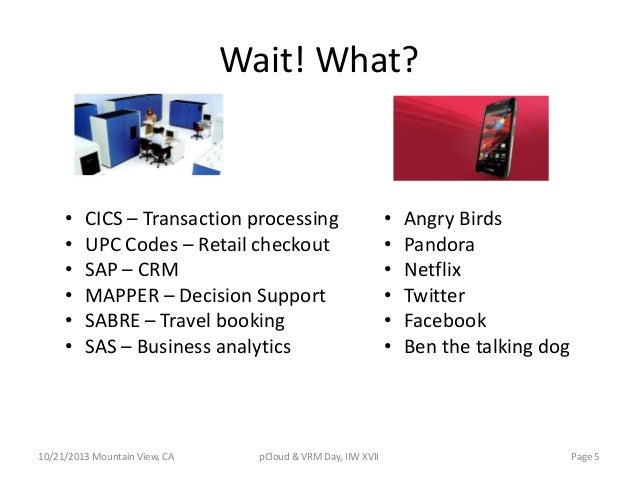 Wait! What?  • • • • • •  CICS – Transaction processing UPC Codes – Retail checkout SAP – CRM MAPPER – Decision Support SA...