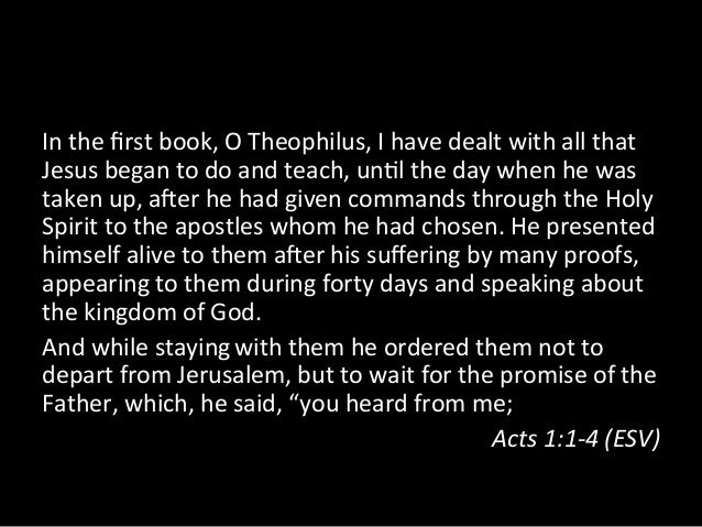 In the first book, O Theophilus, I have dealt with all that Jesus began to do and teach,...