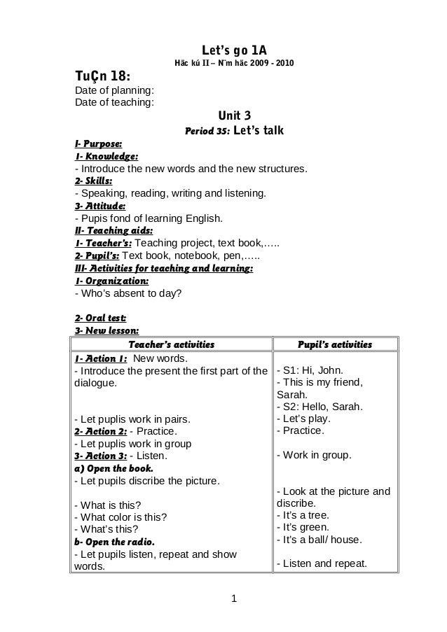 Let's go 1A                      Häc kú II – N¨m häc 2009 - 2010TuÇn 18:Date of planning:Date of teaching:                ...