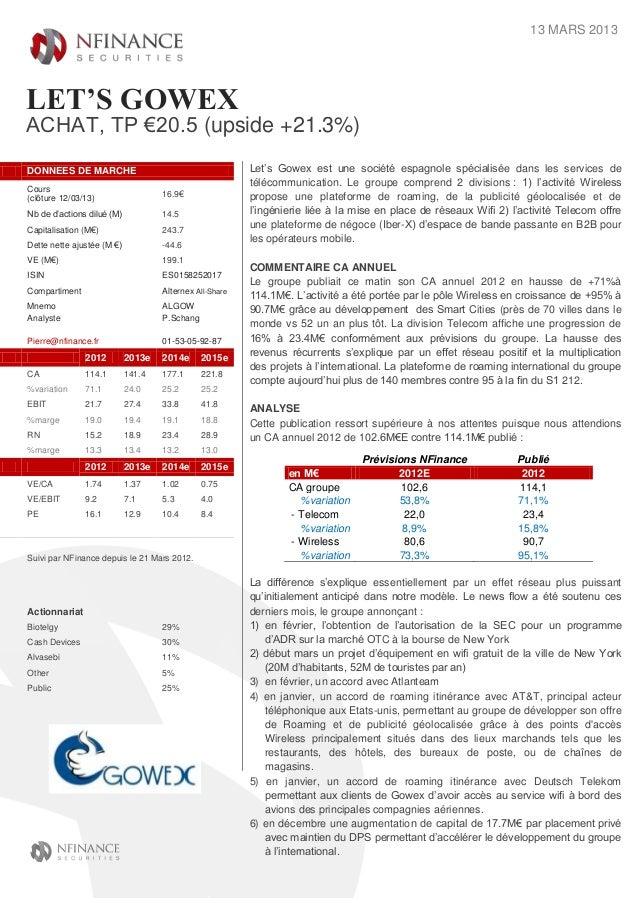 13 MARS 2013LET'S GOWEXACHAT, TP €20.5 (upside +21.3%)DONNEES DE MARCHE                                        Let's Gowex...