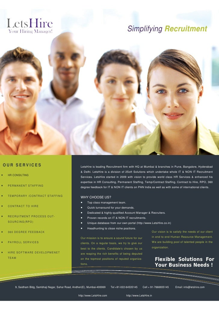 Simplifying Recruitment    OUR SERVICES                                           LetsHire is leading Recruitment firm wit...