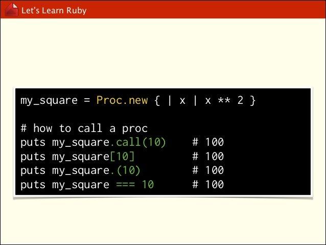 Let's Learn Ruby  lambda, ->