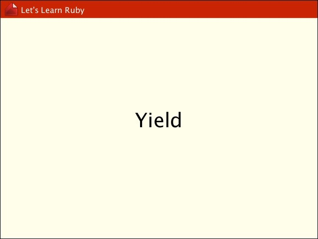 Let's Learn Ruby  Object-Oriented Programming