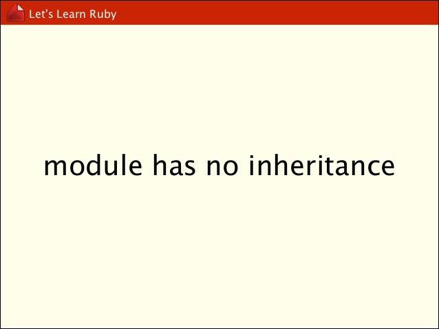 Let's Learn Ruby  module has no instance