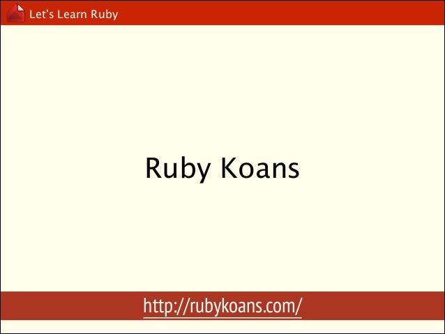 Let's Learn Ruby  Ruby Object Model