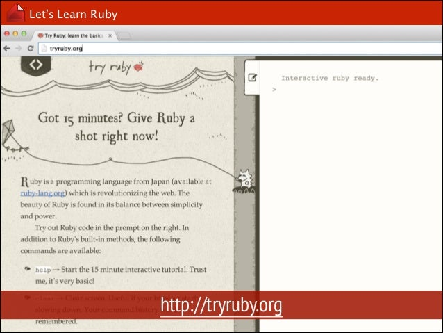 Let's Learn Ruby  Interactive Ruby, irb