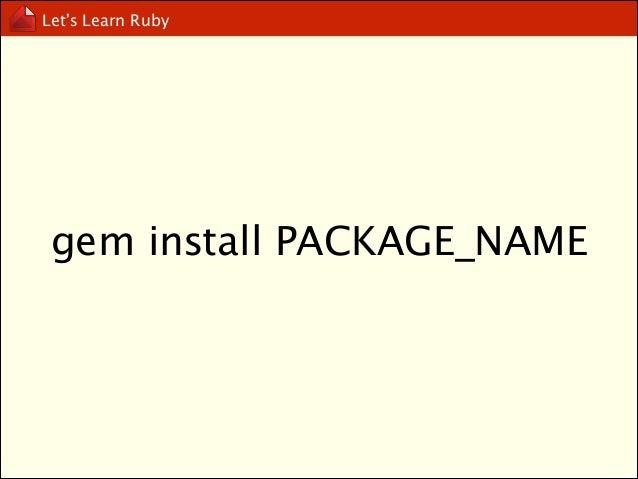 Let's Learn Ruby  gem env