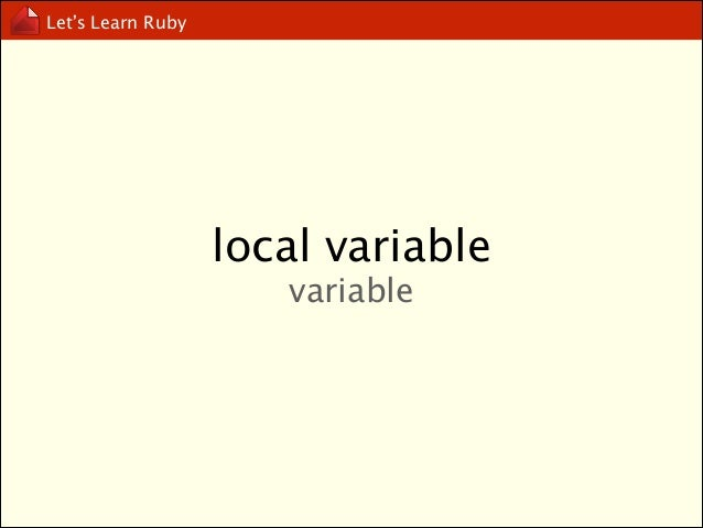 Let's Learn Ruby  global variable $variable