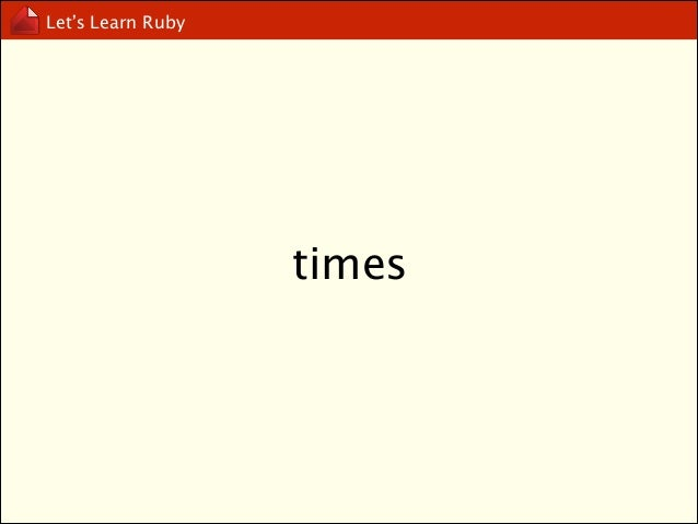 Let's Learn Ruby  upto, downto