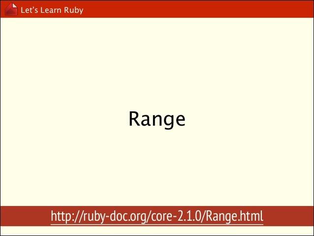 Let's Learn Ruby  (1..10) v.s (1...10)