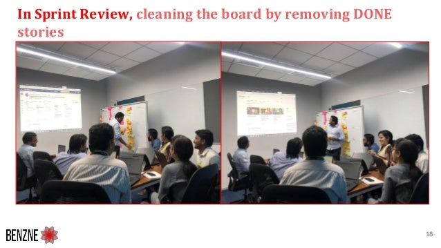 In Sprint Review, cleaning the board by removing DONE stories 18