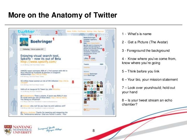 More on the Anatomy of Twitter 8 1 - What's is name 2 - Get a Picture (The Avatar) 3 - Foreground the background 4 - Know ...