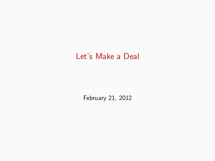 Let's Make a Deal February 21, 2012