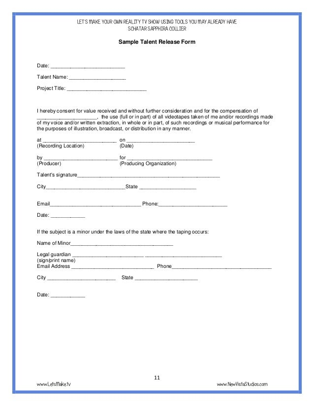 Sample Talent Release Form Medical Release Forms Free Sample