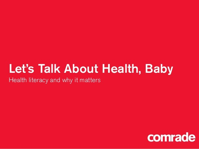 Let's Talk About Health, Baby Health literacy and why it matters