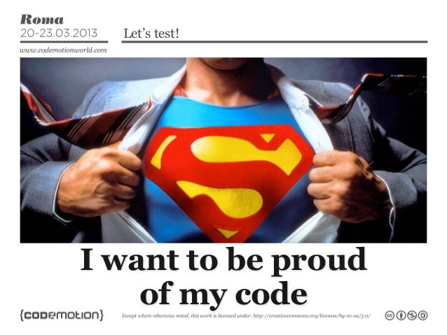 Let's test!Contents...      I want to be proud          of my code