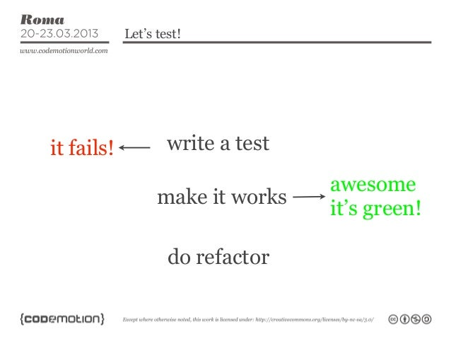 Let's test!it fails!           write a test                                   awesome                  make it works      ...