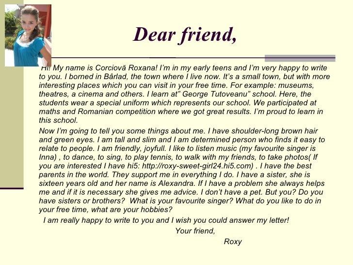 Write Letter To A Best Friend.  6 Dear friend Letter