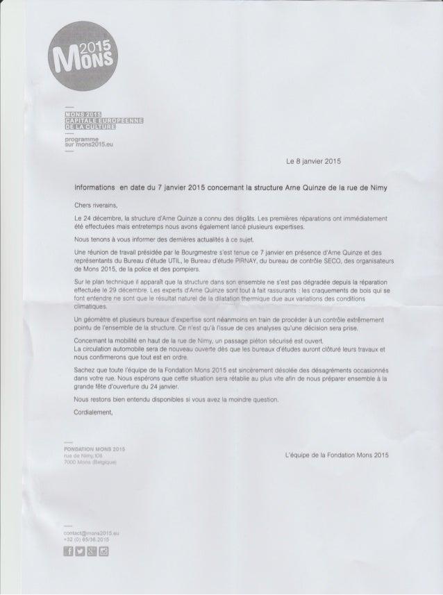 Lettre de la ville de Mons