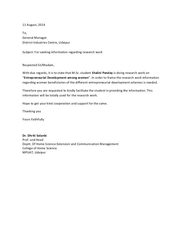 11 August, 2014 To, General Manager District Industries Centre, Udaipur Subject: For seeking information regarding researc...