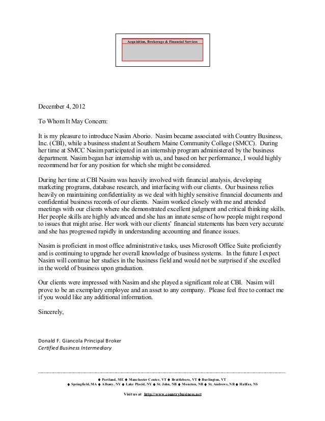 Letter Of Recommendation  Don Giancola Principal Business Broker C