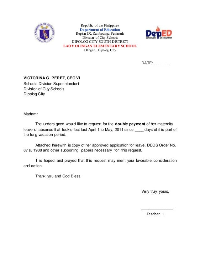 Republic Of The Philippines Department Of Education Region IX, Zamboanga  Peninsula Division Of City Schools  Maternity Leave Letter