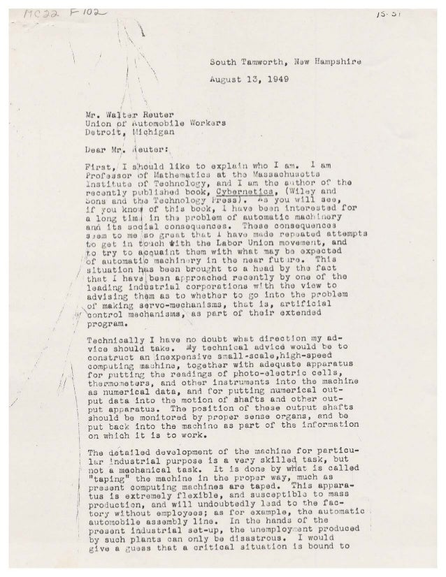 Letter from Norbert Wiener to Walter Reuther, August 13, 1949