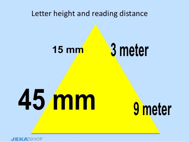 Letter height and reading distance
