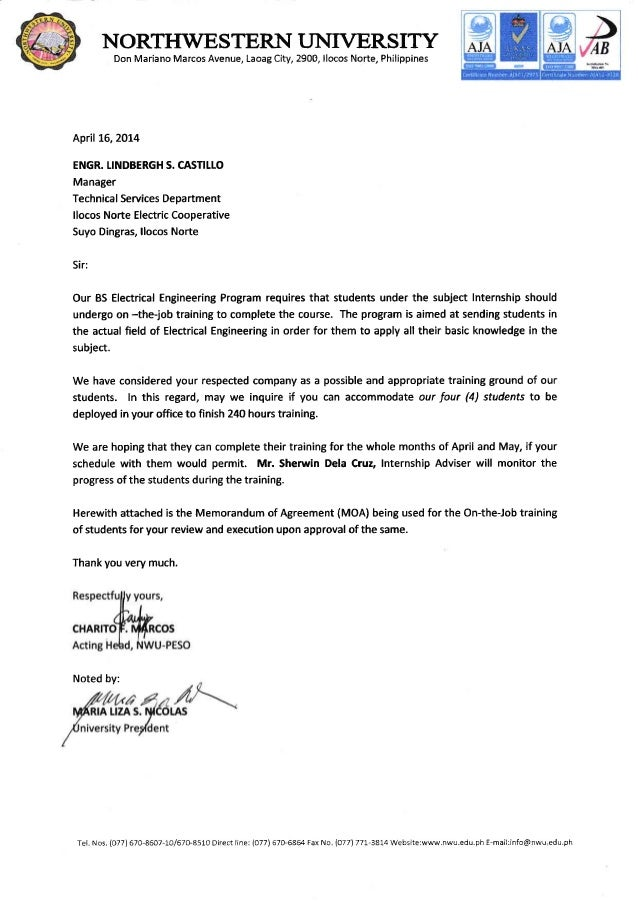 letter memorandom of agreement ojt of students