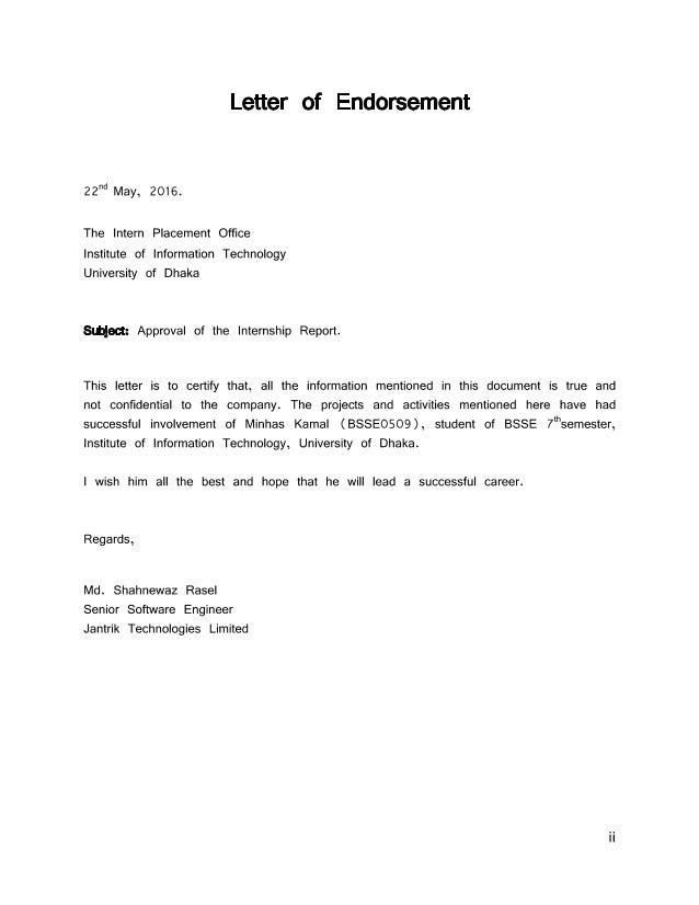 Lovely Letter Of Endorsement Sample