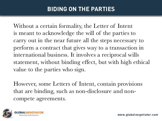 LETTER OF INTENT - Models for Business Negotiations