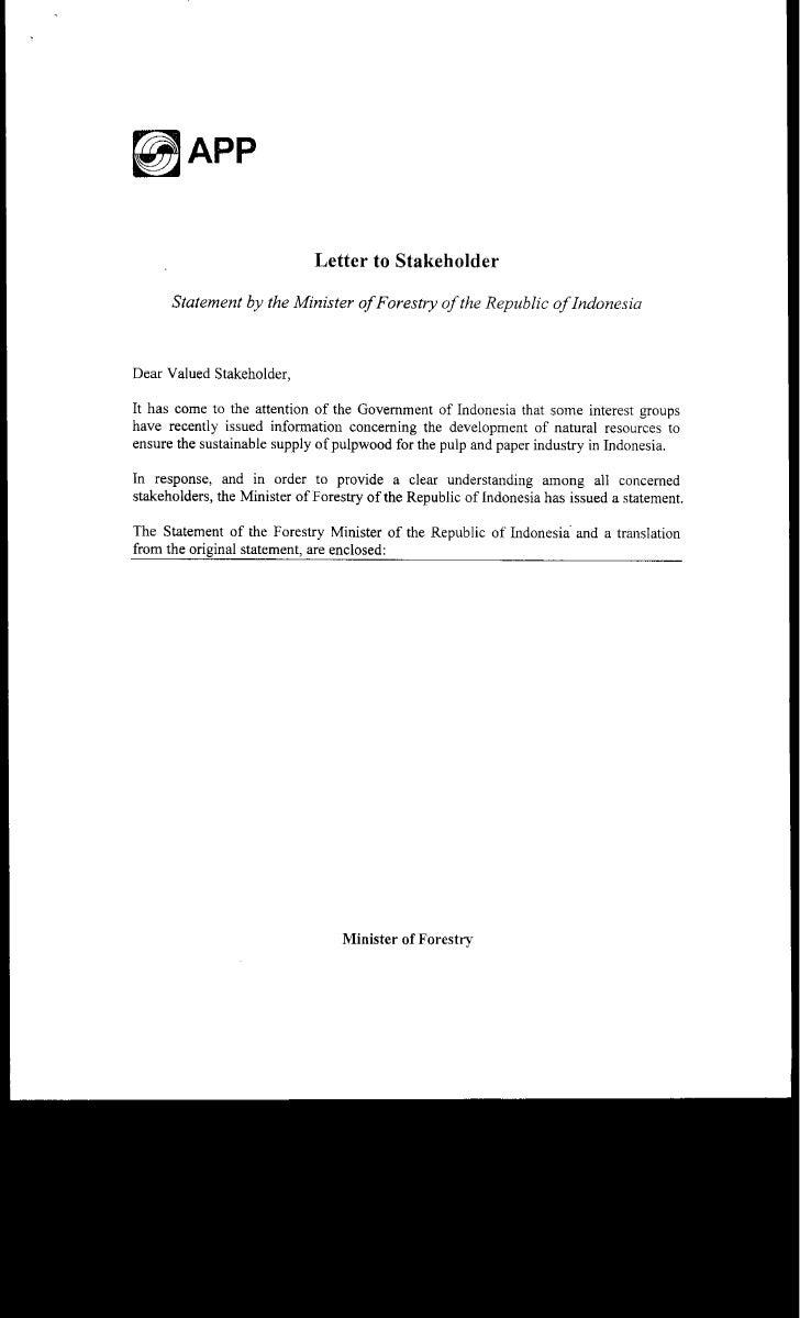 Letter Of Stakeholders (App 14 Nov06)