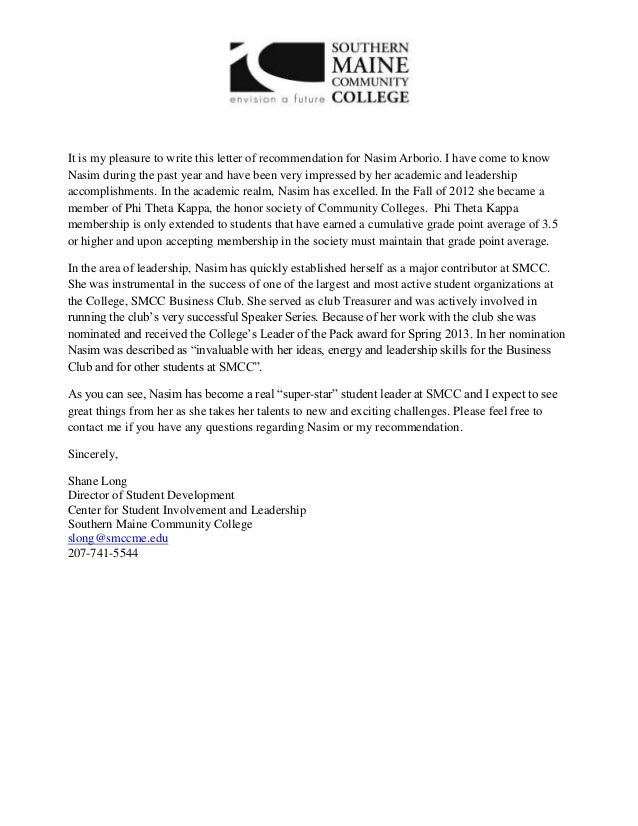 Nice It Is My Pleasure To Write This Letter Of Recommendation For Nasim Arborio.  I Have