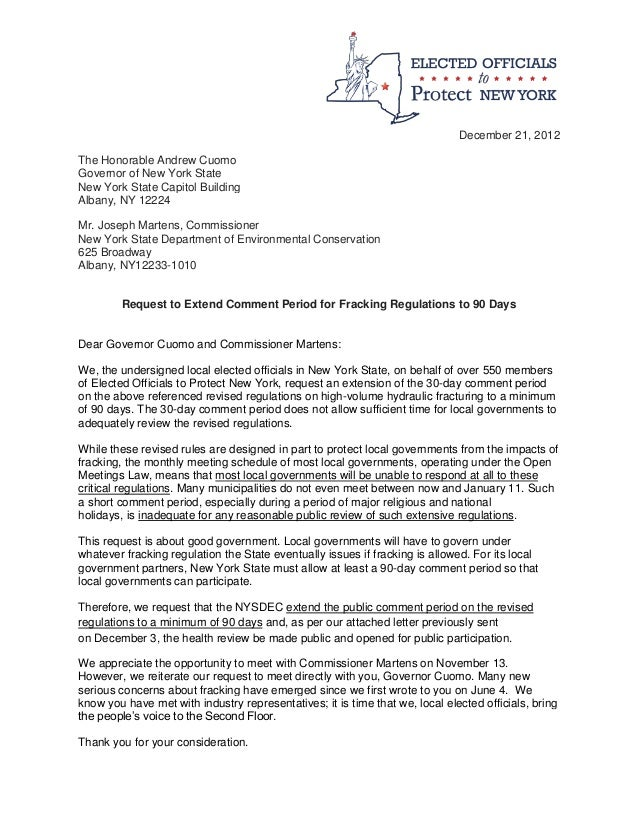 Letter from NY Elected Officials Gov. Cuomo Requesting Extension of P…