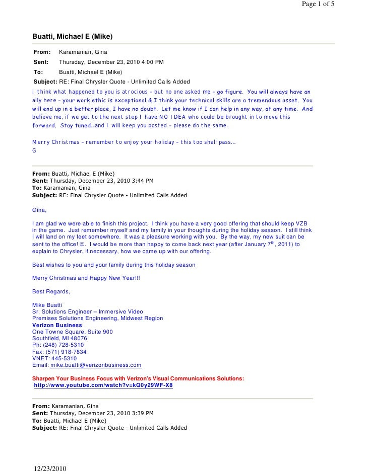 Page 1 of 5Buatti, Michael E (Mike)From:     Karamanian, GinaSent:     Thursday, December 23, 2010 4:00 PMTo:       Buatti...
