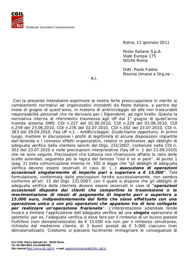 Sindacato Lavoratori Comunicazione  Roma, 11 gennaio 2011 Poste Italiane S.p.A. Viale Europa 175 00144 Roma  R.I.  Dott. P...
