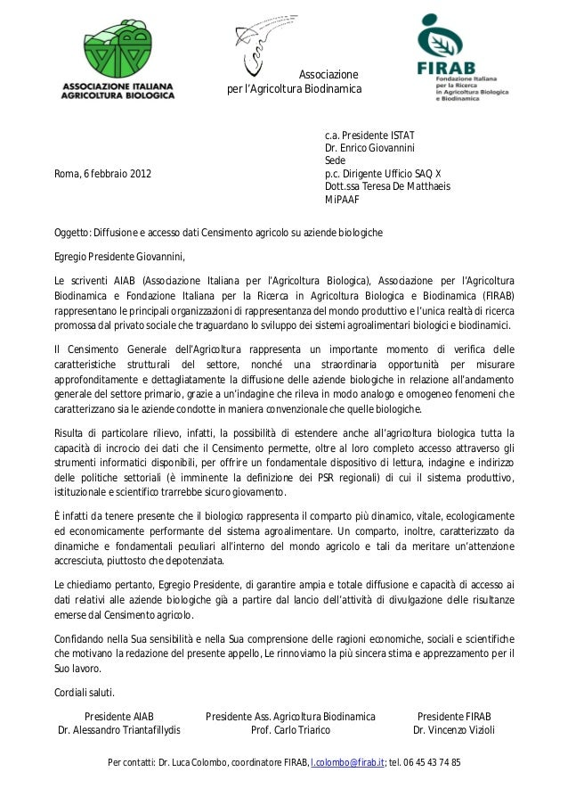 Associazioneper l'Agricoltura Biodinamicac.a. Presidente ISTATDr. Enrico GiovanniniSedeRoma, 6 febbraio 2012 p.c. Dirigent...