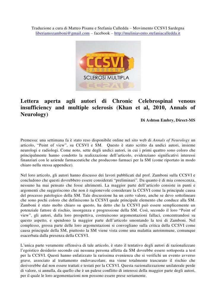 Traduzione a cura di Matteo Pisanu e Stefania Calledda – Movimento CCSVI Sardegna         liberiamozamboni@gmail.com – fac...