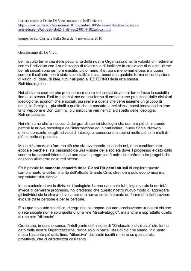 Lettera aperta a Dario Di Vico, autore del bell'articolo http://www.corriere.it/economia/10_novembre_09/di-vico-linkedin-s...