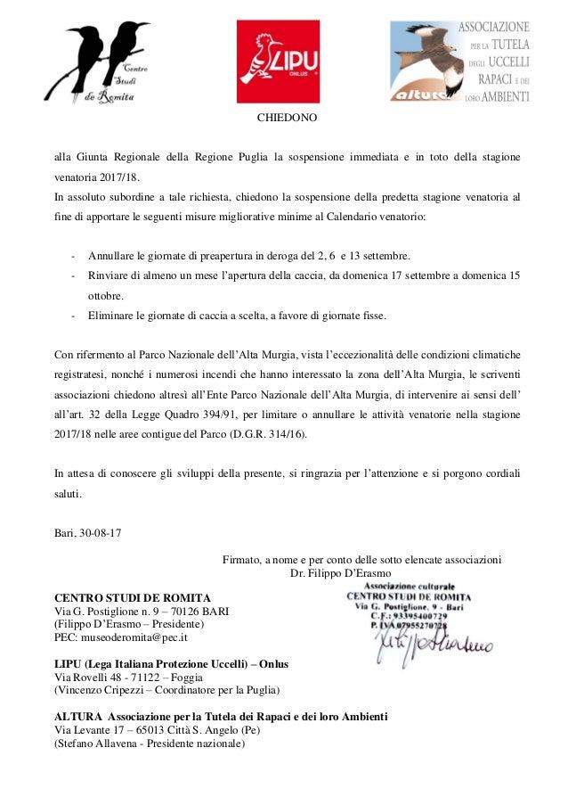 Regione Calabria Caccia E Pesca Calendario Venatorio.Lettera Caccia Stagione 2017 18