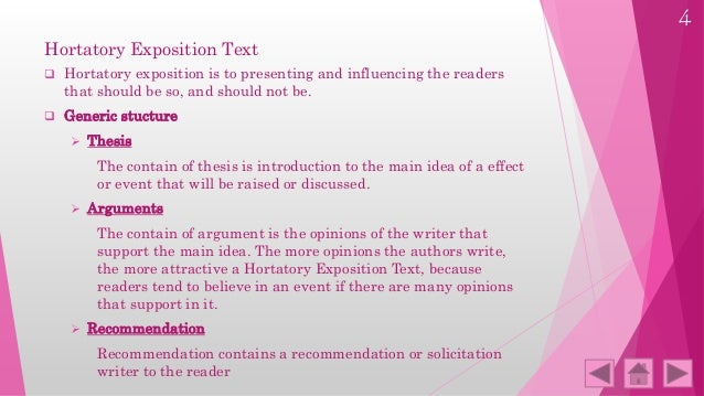 hortatory exposition thesis argument recommendation Most of these written form are in form of hortatory exposition text learning hortatory • recommendation: statement of what ought or ought.