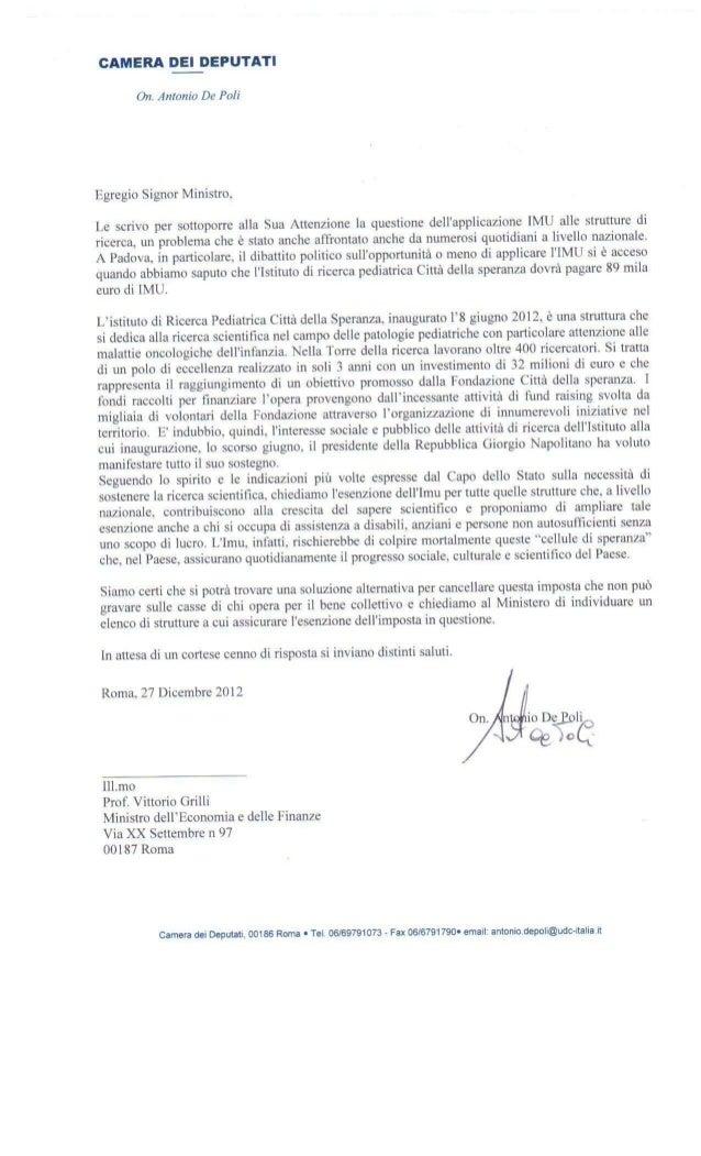 Lettera on Antonio De Poli al Ministro Grilli su IMU a Città della Speranza Padova